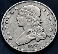 1837 CAPPED BUST QUARTER DOLLAR 25C  HIGH GRADE XF   AU   8877