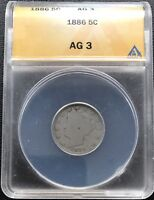 1886 LIBERTY HEAD NICKEL ANACS AG3 5C  KEY DATE 6800