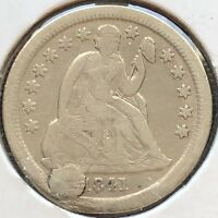 1841 SEATED LIBERTY DIME 10C BETTER EARLY DATE PHILADELPHIA 12165