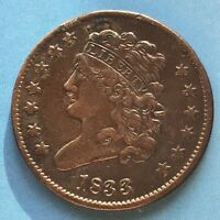 1833 CLASSIC HEAD HALF CENT 1/2 CENT HIGH GRADE VF  7366
