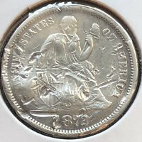 1872 SEATED LIBERTY DIME 10C BETTER GRADE  DATE PHILADELPHIA 12257