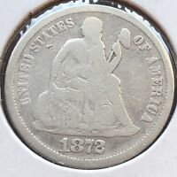 1872 SEATED LIBERTY DIME 10C MID GRADE  DATE PHILADELPHIA 12252