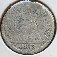 1872 SEATED LIBERTY DIME 10C CIRCULATED  DATE PHILADELPHIA 12256