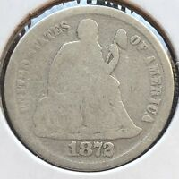 1872 SEATED LIBERTY DIME 10C MID GRADE  DATE PHILADELPHIA 12253