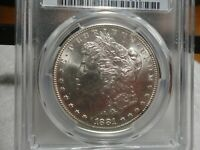 EXCEPTIONAL1881-S MORGAN $  PCGS MINT STATE 64  VAM 22-0 SLANTED DATE  S SET LEFT, SILVER