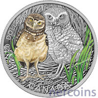 CANADA 2015 BABY ANIMALS BURROWING OWL $20 PURE SILVER PROOF COIN PERFECT