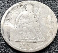 1863 S SEATED LIBERTY DIME 10C SAN FRANCISCO  DATE MID GRADE 15110