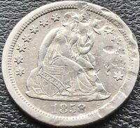 1858 S SEATED LIBERTY DIME 10C  DATE SAN FRANCISCO AU DETAILS 15064