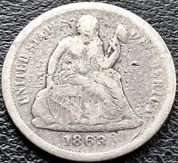 1863 S SEATED LIBERTY DIME 10C SAN FRANCISCO  DATE BETTER GRADE 15108
