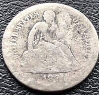 1861 S SEATED LIBERTY DIME 10C SAN FRANCISCO  DATE CIRCULATED 15097
