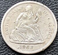 1863 S SEATED LIBERTY DIME 10C SAN FRANCISCO  DATE AU DETAILS 15104