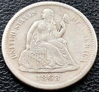1863 S SEATED LIBERTY DIME 10C SAN FRANCISCO  DATE AU DETAILS 15103