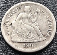 1861 S SEATED LIBERTY DIME 10C SAN FRANCISCO  DATE BETTER GRADE 15096