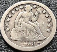 1859 S SEATED LIBERTY DIME 10C SAN FRANCISCO BETTER GRADE F DETAILS  15070