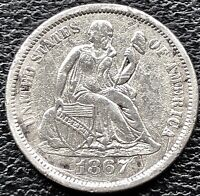 1867 S SEATED LIBERTY DIME 10C  KEY DATE HIGHER GRADE EXTRA FINE  - AU 15141