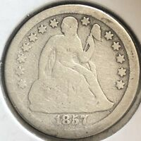 1857 O SEATED LIBERTY DIME 10C MID GRADE  NEW ORLEANS 12396