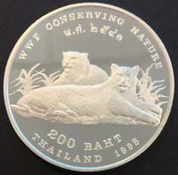 200 BAHT PROOF THAILAND 1998 'WWF CONSERVING NATURE' SILVER