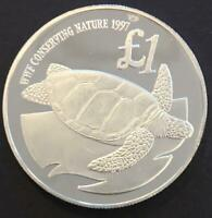 1 POUND PROOF CYPRUS 1997 'WWF CONSERVING NATURE'  SILVER CO