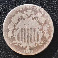 1870 SHIELD NICKEL CIRCULATED 5 CENTS 5C  6846