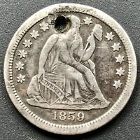 1859 S SEATED LIBERTY DIME 10C SAN FRANCISCO  KEY DATE EXTRA FINE  DETAILS 6409