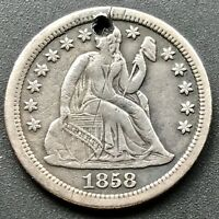 1858 S SEATED LIBERTY DIME 10C  COIN  DATE SAN FRANCISCO  6407