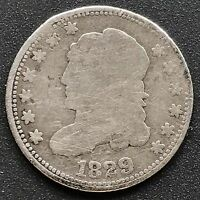 1829 CAPPED BUST HALF DIME 5C  COIN 6200