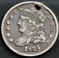 1834 CAPPED BUST HALF DIME 5C  EXTRA FINE  DETAILS HOLED 4196