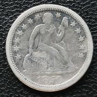 1850 O SEATED LIBERTY DIME EXTRA FINE  10C   EARLY DATE NEW ORLEANS 6644