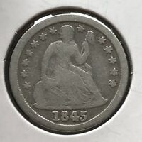1845 SEATED LIBERTY DIME 10C PHILADELPHIA BETTER DATE 11768