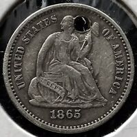 1865 S SEATED LIBERTY HALF DIME 5C BETTER GRADE EXTRA FINE  DETAIL   DATE  11746