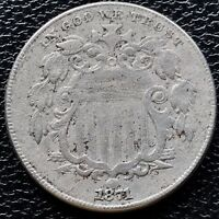 1871 SHIELD NICKEL 5 CENTS  KEY DATE HIGH GRADE EXTRA FINE  CLEANED 6620