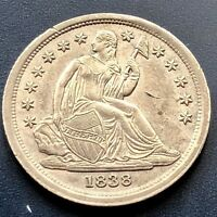 1838 SEATED LIBERTY DIME 10C  HIGH GRADE UNC DETAILS  11758