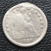 1858 O SEATED LIBERTY HALF DIME 5C NEW ORLEANS  BETTER GRADE 11593