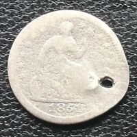1851 O SEATED LIBERTY HALF DIME 5C NEW ORLEANS  CIRCULATED HOLED 11566