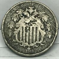 1869 SHIELD NICKEL 5C CENTS -  DETAIL COIN.