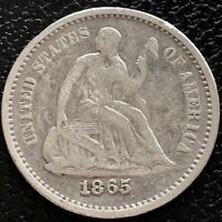1865 S SEATED LIBERTY HALF DIME 5C BETTER GRADE SAN FRANCISCO  15544