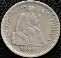 1865 S SEATED LIBERTY HALF DIME 5C HIGHER GRADE SAN FRANCISCO  15542