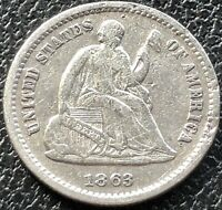 1863 S SEATED LIBERTY HALF DIME 5C HIGHER GRADE VF SAN FRANCISCO  15537