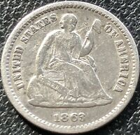 1863 S SEATED LIBERTY HALF DIME 5C HIGHER GRADE VF SAN FRANCISCO  15536