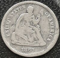 1863 S SEATED LIBERTY HALF DIME 5C BETTER GRADE SAN FRANCISCO  15540