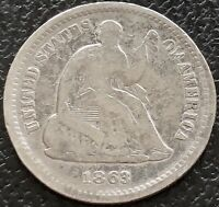1863 S SEATED LIBERTY HALF DIME 5C BETTER GRADE SAN FRANCISCO  15538