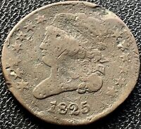 1825 CLASSIC HEAD HALF CENT 1/2 CENT CIRCULATED 180 ROTATED DIES 15461