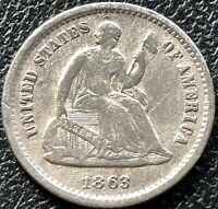 1863 S SEATED LIBERTY HALF DIME 5C HIGHER GRADE VF SAN FRANCISCO  15535
