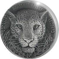 MAUQUOY HAUT RELIEF LEOPARD BIG FIVE 5OZ ANT FIN AG COIN 500