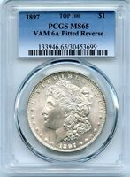 C8275- 1897 VAM-6A PITTED REVERSE TOP 100 MORGAN DOLLAR PCGS MINT STATE 65