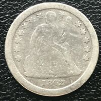 1842 SEATED LIBERTY DIME 10C BETTER GRADE 14211