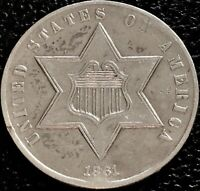 1861 THREE CENT PIECE SILVER TRIME 3C HIGHER GRADE 180 ROTATED DIES  15501