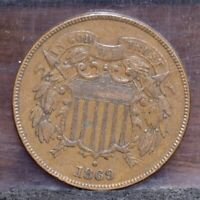 1869 TWO CENT PIECE - EXTRA FINE  21502