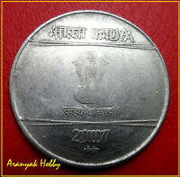 DOUBLE DIE LY  ERROR COIN INDIA 2 RUPEES 2007 OLD ISSUE STEEL COIN