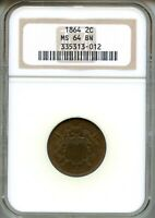 1864 TWO CENT PIECE NGC MINT STATE 64BN  BROWN 2C 335313-012